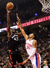 Toronto Raptors forward Pascal Siakam (43) shoots over Detroit Pistons forward Christian Wood (35) during the first half of an NBA basketball game, Wednesday, Oct. 30, 2019 in Toronto.