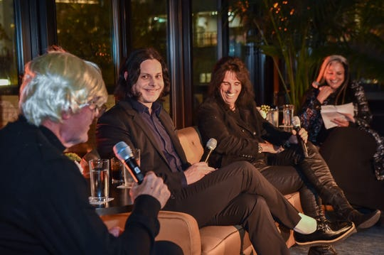 Kirk Gibson and musicians Jack White and Alice Cooper speak on a panel moderated by WDET-FM's Ann Delisi at the Kirk Gibson Foundation's Fundraiser For Parkinson's hosted by Shinola Hotel on October 30, 2019 in Detroit.