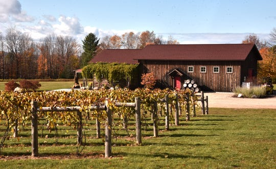 Crooked Vine Vineyard and Winery is located east of Alanson on a hillside overlooking the Emmet County countryside.