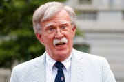 In this July 31, 2019 file photo, National security adviser John Bolton speaks to media at the White House in Washington.