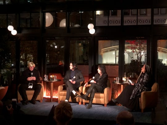 WDET-FM's Ann Delisi, far right, moderated a discussion with Kirk Gibson (in the Andy Warhol wig), Jack White and Alice Cooper.
