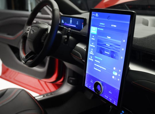 The Mach-E debuts Sync 4, the latest generation of Ford's infotainment system. The 15.5-inch screen wows, but the biggest advance is that you can talk to the vehicle like a phone.