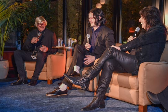 DETROIT, MICHIGAN - OCTOBER 30: Former MLB Player Kirk Gibson (L) and Musicians Jack White (C) and Alice Cooper speak on a panel at the Kirk Gibson Foundation's Fundraiser For Parkinson's hosted by Shinola Hotel on October 30, 2019 in Detroit, Michigan. (Photo by Aaron J. Thornton/Getty Images for Shinola)