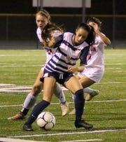 Leila Vargas of Elmira Notre Dame possesses the ball against Groton during a Section 4 Class C girls soccer semifinal Oct. 30, 2019 at Notre Dame.