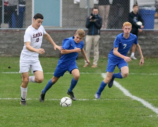 Noah Sperduto of Elmira races ahead with the ball as Horseheads' Nathaniel Tenbus, center, and Carter McCreary defend during a Section 4 Class AA boys soccer semifinal Oct. 30, 2019 at Horseheads High School.