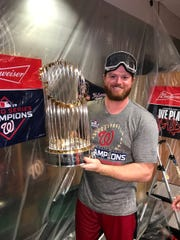 Central grad Aaron Barrett takes part in the Washington Nationals' World Series celebration.