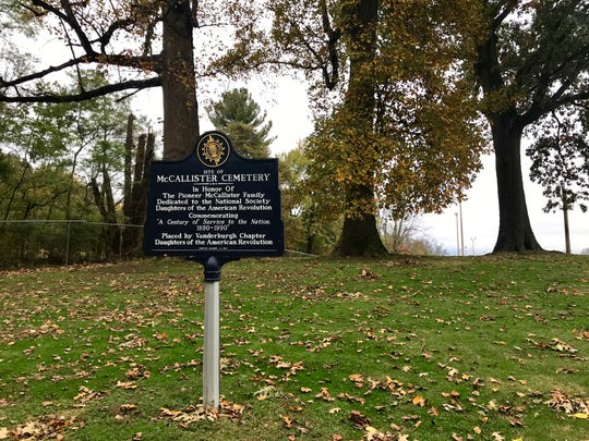 Since 1990, this sign has marked the spot of a historic cemetery in a corner of Wesselman Park golf course.