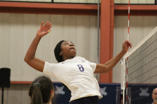 Terra State's Kenyatta Thomas rises up for a kill Wednesday in the Titans' victory over the University of Rio Grande's JV squad.