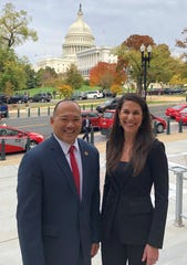 John Lai (left), president and CEO of the Sanibel and Captiva Chamber of Commerce, and Tiffany Esposito (right), president and CEO of the Bonita Springs Area Chamber of Commerce, visit Washington D.C. to advocate for clean water in October 2019.