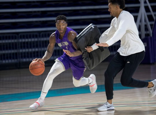 Berrick JeanLouis practices at Florida SouthWestern State College on Wednesday, October 30, 2019, in Fort Myers.