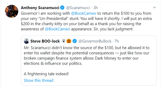 Gov. Steve Bullock and Anthony Scaramucci exchange tweets.
