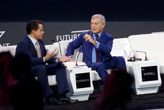 Former White House communications director Anthony Scaramucci, left, and former WPP Chief Executive Martin Sorrell, attend a discussion panel during the Future Investment Initiative forum Wednesday in Riyadh, Saudi Arabia.