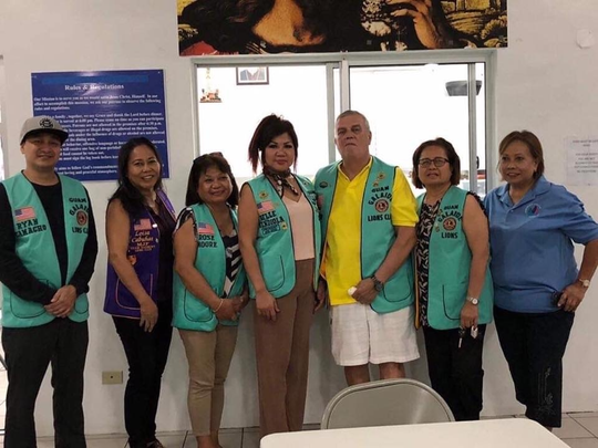 "Operation ""G.L.O.W:"" Galaide Lions offering welcome meals. Guam Galaide Lions Club joined Kamalen Karidat in by serving dinner Oct. 23. Present were Guam Galaide Officers, Lions Ryan Camacho, District Secretary Michelle Taitano, Roselyn Moore, President Belle Mendiola, Tom Farrior, Beth Cena and Zeny Cachila."