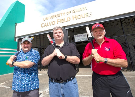 From left, Lawrence Camacho, dean of Enrollment Management and Student Success at UOG; Doug Palmer, athletics director of UOG's Triton Athletics Department; and Bill Bennett, founder of Guam Baseball Academy.