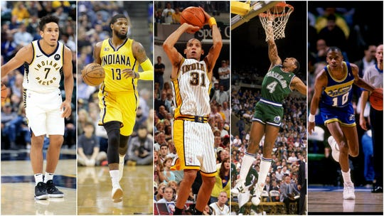 Players with the best starts to their Pacers careers. From left to right: Malcolm Brogdon, Paul George, Reggie Miller, Adrian Dantley and Vern Fleming