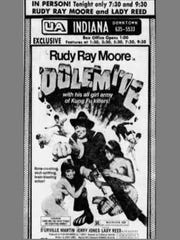 "This ad published June 6, 1975, in The Indianapolis Star touts Rudy Ray Moore's local promotion of the film ""Dolemite."""