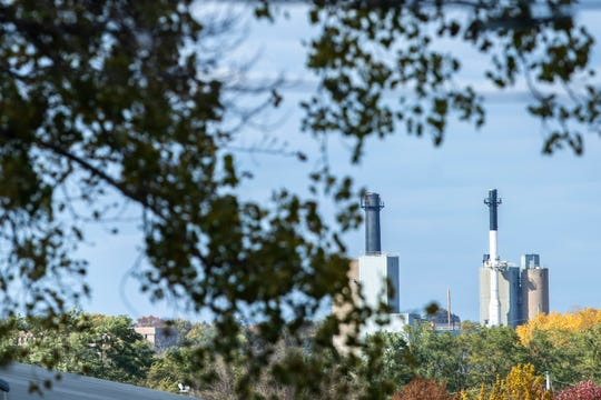 The University of Iowa Power Plant is pictured as fall tree leaves begin to change colors, Tuesday, Oct., 22, 2019, in Iowa City, Iowa.