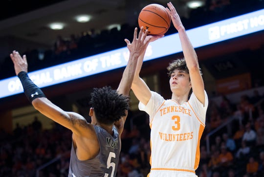 Tennessee's Drew Pember (3) takes a shot during an exhibition game between University of Tennessee and Eastern New Mexico Wednesday, Oct. 30, 2019. At the half, the score is Tennessee 52, Eastern New Mexico 28.