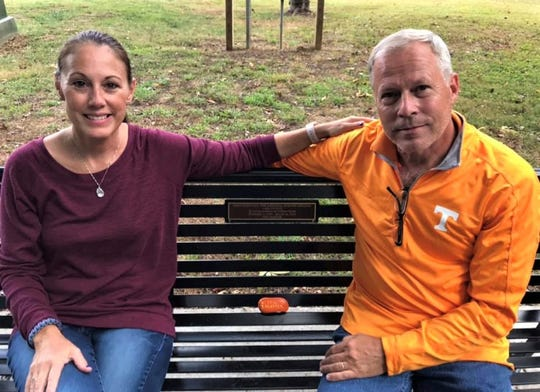 Annette and Mike Scott enlisted friends and supporters to install this memorial bench at the Cove in Concord Park for their son, Andrew Scott.