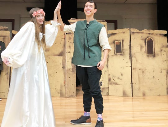"Rebekah O'Banion as Ophelia and Hogan Wayland as Hamlet rehearse for the Gibbs High School production of ""I Hate Shakespeare"" Oct. 30, 2019."