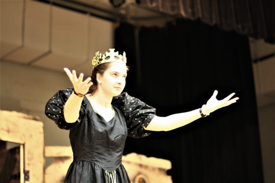 "Sophia Meinerling as Lady Macbeth poses during rehearsal for ""I Hate Shakespeare,"" the fall production for Gibbs High School Students."