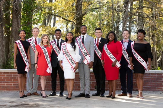 Members of the 2019 Homecoming Court are, from left, Bria Burrell, Dylan Hebert, Madison Scioneaux, Yusef Garrett Davis, April Nicole Pruitt, Jonathan Alexander, Elijah List, Hailey Boutte, Adam Roach and Brooklyn Alexandra Fields-Meaux.