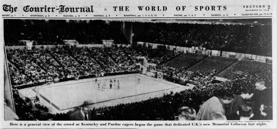 The Dec. 10, 1950 edition of the Courier Journal marked the dedication of the University of Kentucky's Memorial Coliseum as a basketball arena.