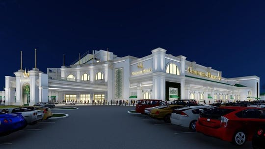 A rendering of the entrance to the new seven-story, 156-room hotel that Churchill Downs plans to build along with a historical racing machine facility and expanded seating.