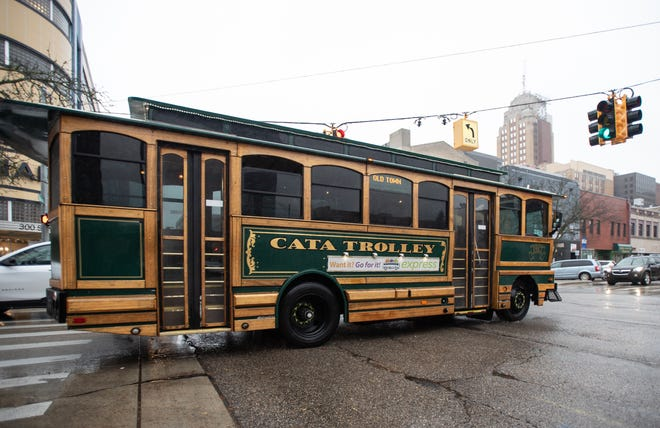 The CATA Grab & Go trolley pictured Thursday, Oct. 31, 2019, in downtown Lansing.