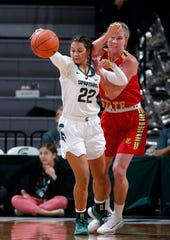 Michigan State's Moira Joiner, left, and Ferris State's Brayene Benner vie for the ball in an exhibition game Wednesday, Oct. 30, 2019, in East Lansing, Mich. Michigan State won 85-45.