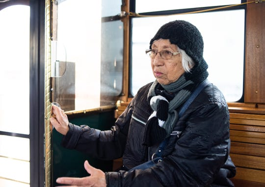 """""""It's a bumpier ride,"""" CATA rider Josefina Martinez said, Thursday, Oct. 31, 2019, while riding the CATA Grab & Go trolley from Old Town to downtown Lansing. Martinez does not drive and said she likes the trolley as it's usually not as full as other buses. Friday will be the last day of service on the route for the two trolleys because CATA is selling them."""