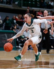 Michigan State's Alyza Winston drives against Ferris State in an exhibition game Wednesday, Oct. 30, 2019, in East Lansing, Mich. Michigan State won 85-45.