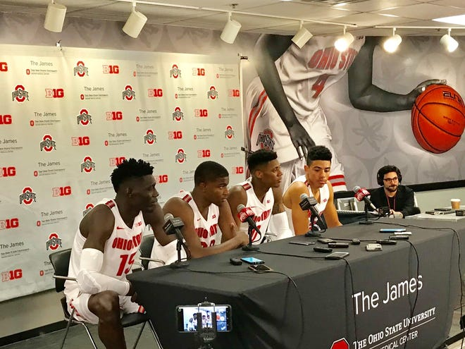 The Ohio State men's basketball freshman class, from left, Ibrahima Diallo, E.J. Liddell, Alonzo Gaffney and D.J. Carton speak at their first-ever press conference on campus after a 95-52 exhibition victory over Cedarville Wednesday night in the Schottenstein Center.