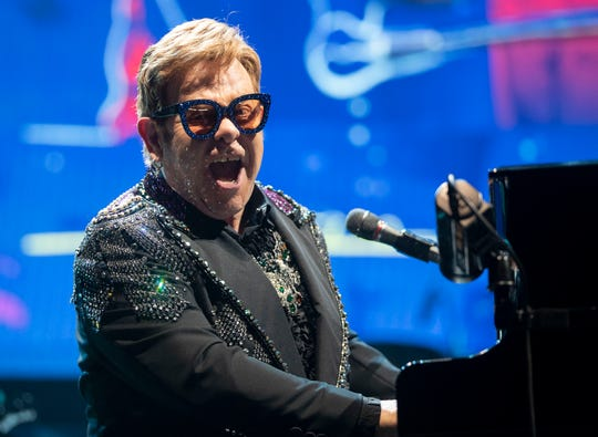 Elton John performs Wednesday, Oct. 30, 2019, during a stop on his Farewell Yellow Brick Road tour at FedEx Forum in downtown Memphis.