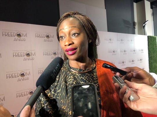 Hafsat Abiola speaks to media on the red carpet before the National Civil Rights Museum Freedom Award Wednesday, Oct. 30.