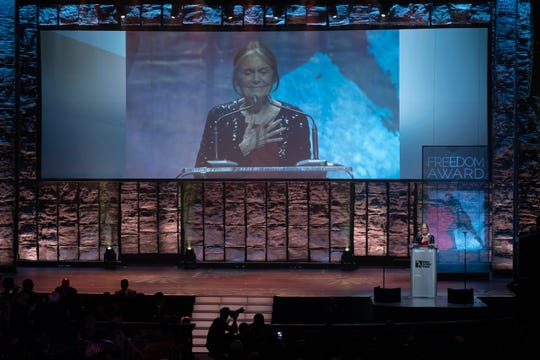 Gloria Steinem speaks after receiving the Freedom Award Wednesday night, presented by the National Civil Rights Museum.