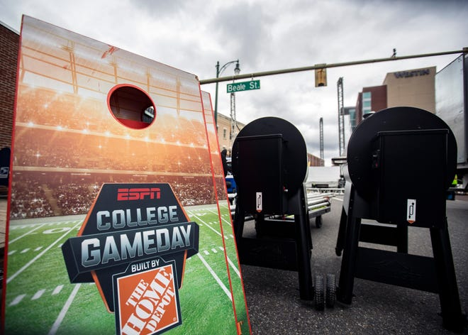 """ESPN's """"College GameDay"""" construction begins for the University of Memphis vs. Southern Methodist University game Thursday Oct. 31, 2019."""