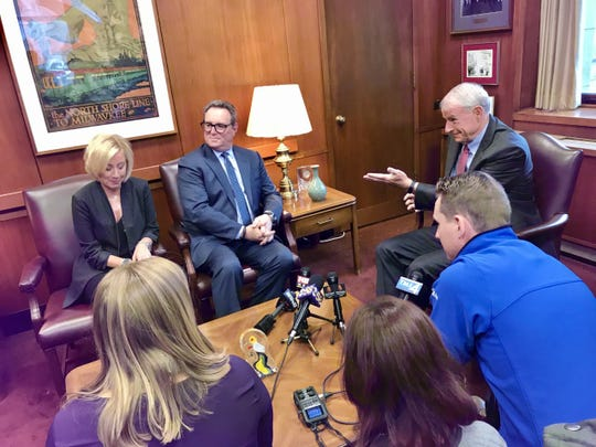 Milwaukee Mayor Tom Barrett, right, meets with Wisconsin Center District CEO Marty Brooks and incoming VISIT Milwaukee CEO Peggy Williams-Smith on Thursday at City Hall.