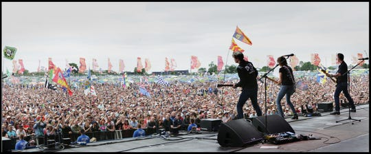The Pretenders play to a packed crowd at Glastonbury in 2017.