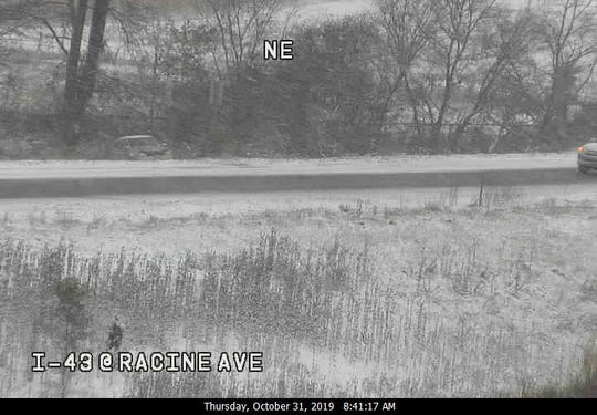 This image from the Wisconsin Department of Transportation shows a vehicle that spun off the road on the exit to Racine Avenue from I-43 southbound near New Berlin in Waukesha County.
