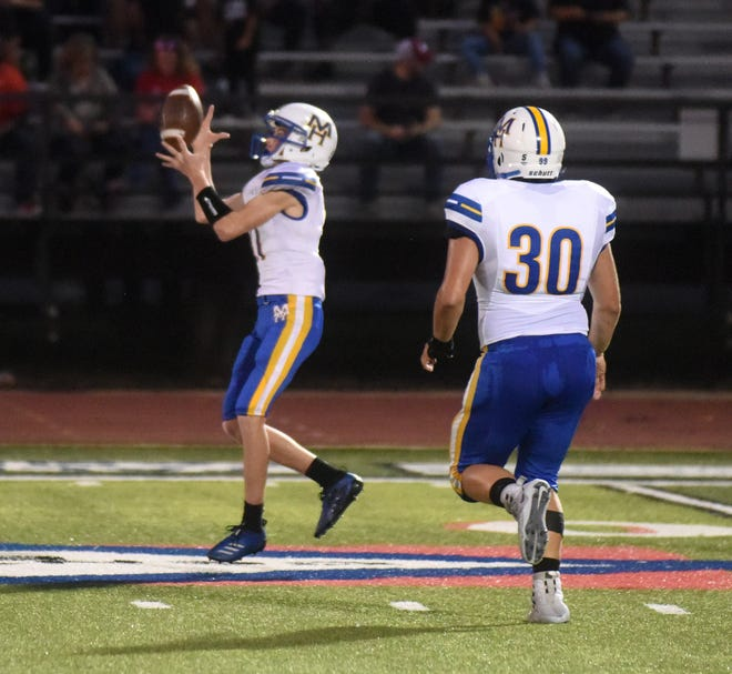 Mountain Home's Brody Patterson hauls in a kickoff during a recent game.
