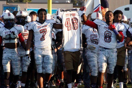 Franklin Parish and Sterlington came out together carrying Tyrell Cameron's no. 48 jersey prior to a game against Wossman on September 11, 2015. The Patriots and the Panthers meet for the first time since 2016 on Friday