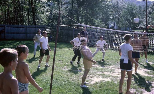 A group of Cromwell Hills residents enjoy a game of volleyball during the summer of 1967.