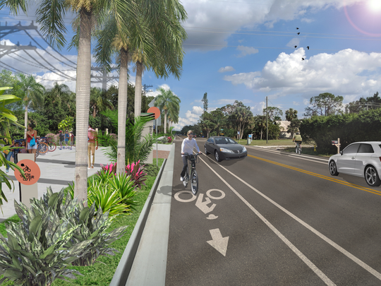 West Terry Street in Bonita Springs will have wide bike lanes and a 12-foot-wide multiuse path after construction ends summer 2020.