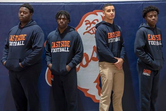 Eastside football players, from left, Shamar Freeman, Albert Canty, Jordan Quintero and Altymir Jones at Paterson Eastside High School on Thursday, October 31, 2019.