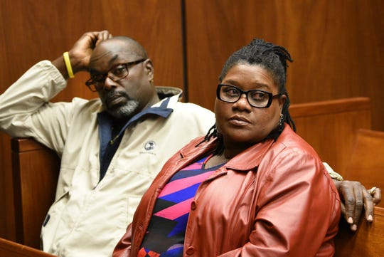 Parents of Sarah Butler, Victor Butler and Lavern Butler are seen in the court room of Judge Mark S. Ali during the trial of Khalil Wheeler-Weaver, who is charged in the death of their daugter Sarah Butler, 20, of Montclair, photographed in Essex County Superior Court in Newark, NJ on 10/31/19.
