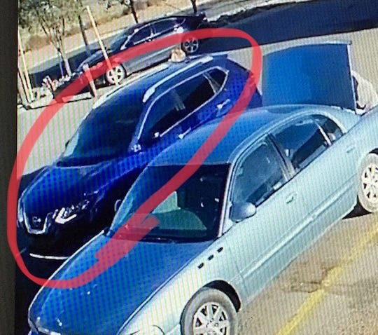 Doña Ana County Sheriff's detectives believe a woman who stole a credit card on Oct. 19 was driving this blue SUV.