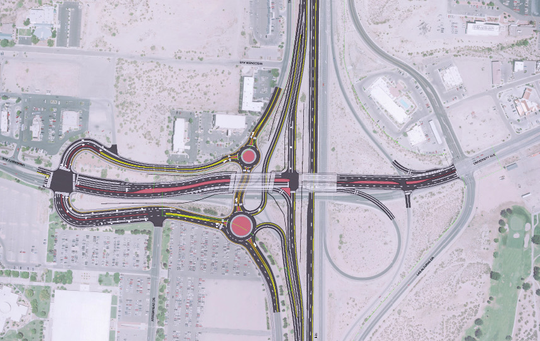 An artist rendering shows what the completed I-25/University construction project — including two new roundabouts — will look like when complete.