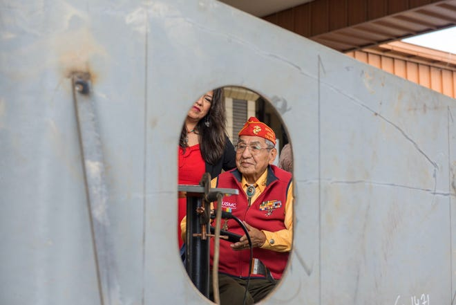Navajo Code Talker Peter MacDonald Sr. was among dignitaries from the Navajo Nation to attend the keel laying ceremony for the future USNA Navajo (T-ATS 6) on Oct. 30 in Houma, Louisiana.