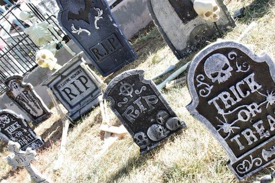 A papier-mache cemetery at the Cunningham Haunt House in Farmington on Oct. 31, 2019.